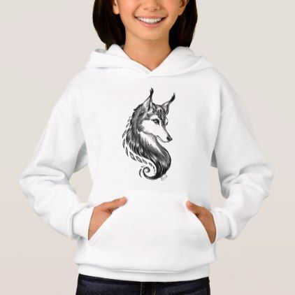 Black White Hand Drawn Wolf Kids Hoodie - black gifts unique cool diy customize personalize