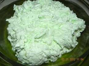 Cottage Cheese Jello Salad..This doesn't look nearly as good as my grandma's green jello salad...but I'm really hoping it is as good. Project getting my bubba's to eat more protien