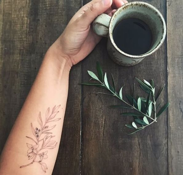 olive branch tattoo fine realistic bloom