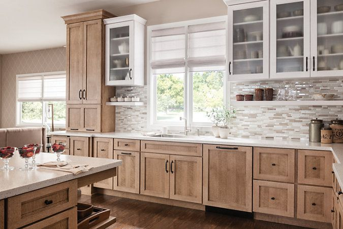 Schuler Cabinetry Dalton quartersawn oak Cappuccino and Cottage White Sheer