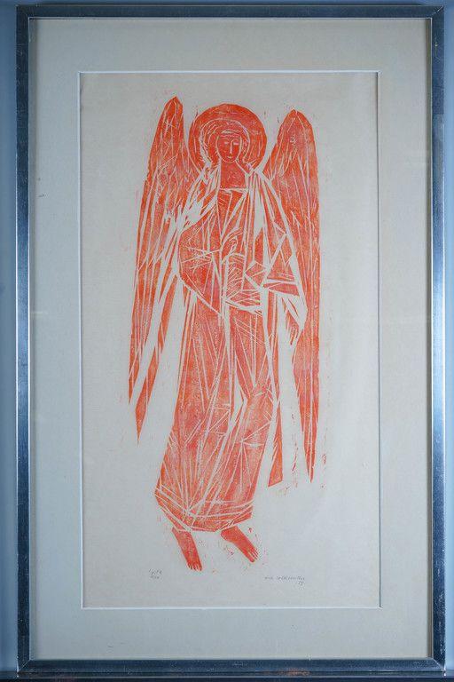 Ina Colliander: Punainen enkeli, 1959, puupiirros, 79x44 cm, edition 10/10 - Huutokauppa Helander 10/2015