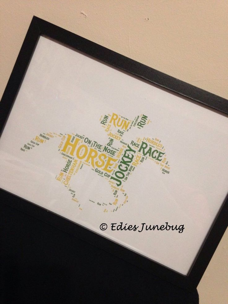 A personal favourite from my Etsy shop https://www.etsy.com/uk/listing/285697199/jockey-word-collage-cheltenham-horse