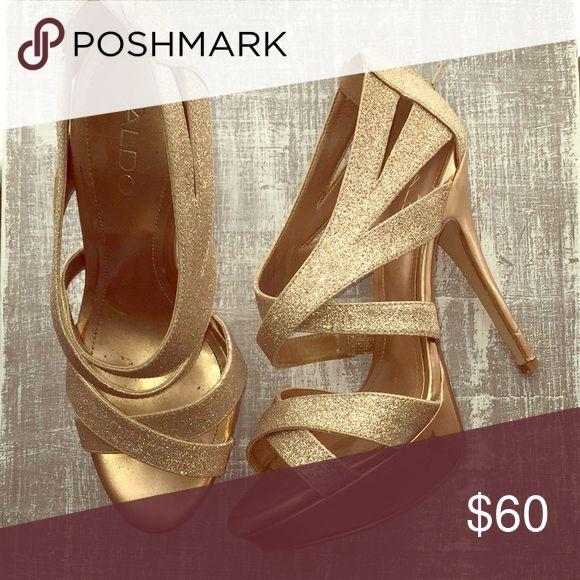Gold Aldo heels Sparkly gold 5 inch stewpot heels Aldo Shoes Heels