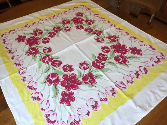 Vintage Spring Easter Tablecloth Pink Tulips by AStringorTwo