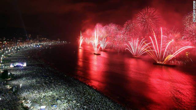 Copacabana Beach; Brazil; waterside fireworks.