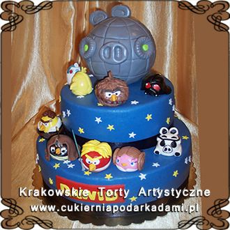 076. Tort z Angry Birds Star Wars. Star Wars Angry Birds cake.