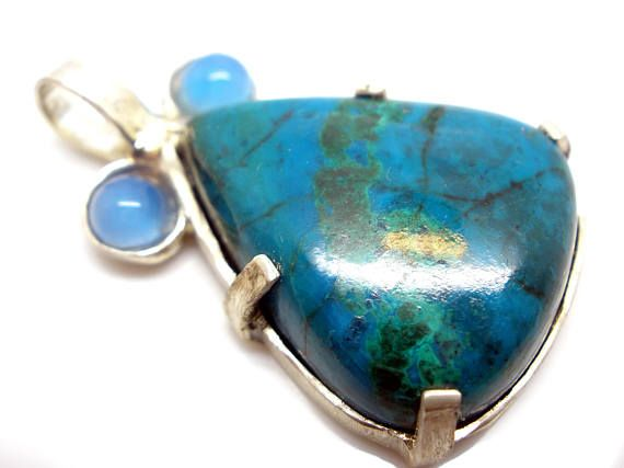 FREE SHIPPING Natural Chrysocolla Handmade Silver Pendant with
