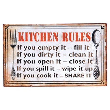 Kitchen Rules Wall Decor.