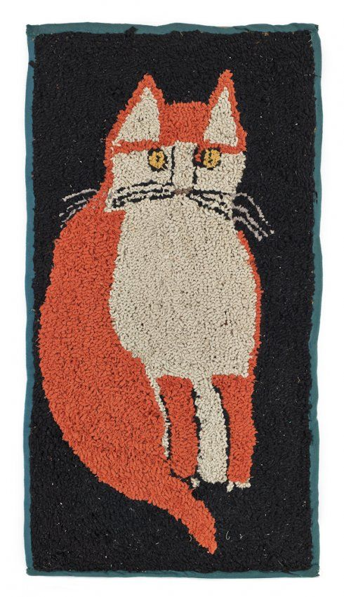 Hooked Rug Of A Seated Cat 33 X 17 On