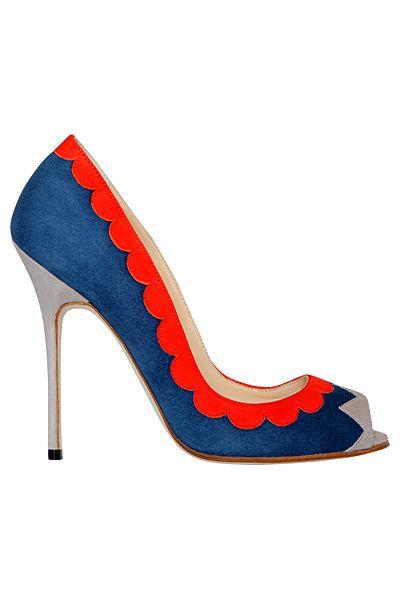 Manolo Blahnik Blue & Red Open-Toe Pumps Spring 2013 #Manolos #Shoes #Heels