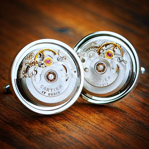 Cartier Watch Movement Cufflinks Vintage by JFoxCufflinks on Etsy  #cufflinks #suit #tie #shirt #horology #menswear #mensfashion #watchmovementcufflinks #mensaccessories #men #gentleman #dapper #sartorial #debonair #vintagecufflinks #steampunkcufflinks #steampunk #retail #groom #luxury #weddingday #groomgift #timepiece #groomsmengift #dadgift #handmade #fashion #birthdaygift #wristwatch #style #watch #bestmangift #etsy #etsyshop #Cartier