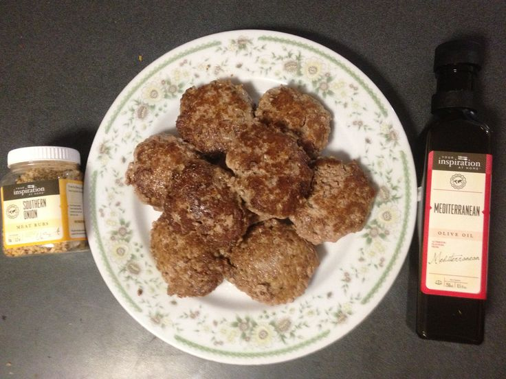 Good old home cooked rissoles with YIAH Southern Onion rub mixed through and  cooked in a splash of YIAH Mediterranean Olive Oil.