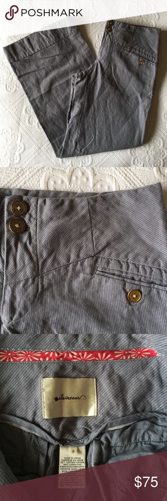 Anthropologie - Elevenses Nautical Trousers Anthropologie - Elevenses Nautical Trousers / Gorgeous detail with anchor buttons.  Needs to be steamed.  Color is a muted bluish-gray. Anthropologie Pants Trousers
