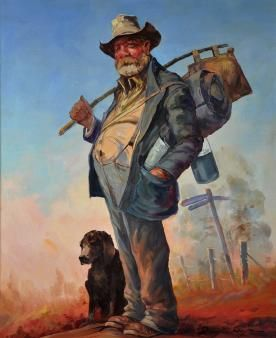 Swagman and his mate - by D'Arcy Doyle (1932-2001) Australia