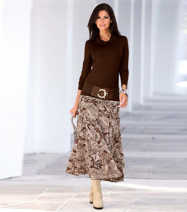 Faldas largas en diseno marron conjunto de ropa casual for Diseno de ropa