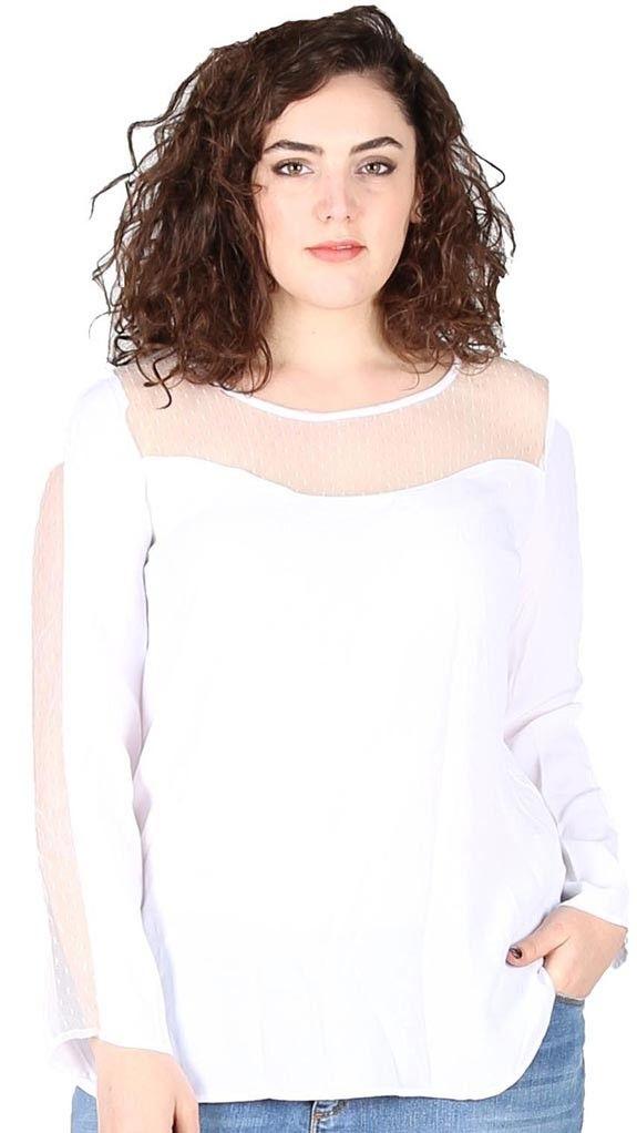 Blouse à empiècements transparents manches longues. Dispo sur https://www.pampleon.com/home/110-blouse-kaza-manches-longues.html