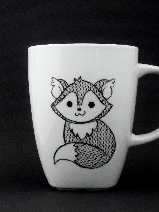 ceramic animal fox mug in black and white fox children fox