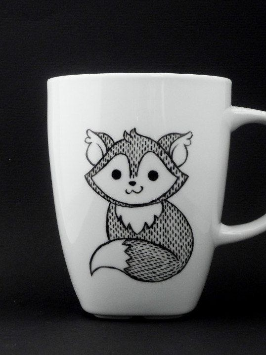 Hey, I found this really awesome Etsy listing at https://www.etsy.com/listing/166853094/fox-mug-in-black-and-white-fox-fox-mug
