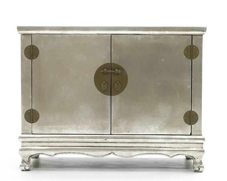 Merveilleux Silver Lacquered Chinese Cabinet