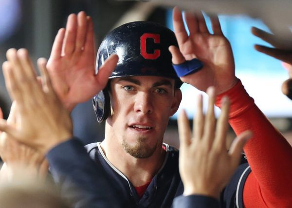 Cleveland Indians dugout congratulates Bradley Zimmer after he scored off a sacrifice fly off the bat of Yan Gomes in the 8th inning against the Detroit Tigers, July 8, 2017, at Progressive Field. Indians won 4-0
