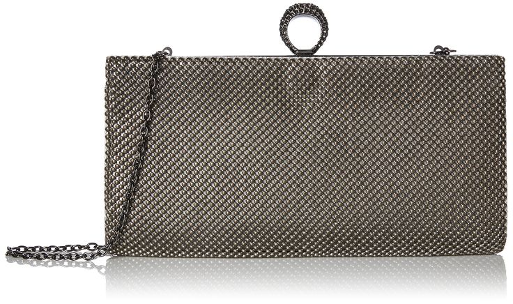 Jessica McClintock Bailey Ball Mesh Jeweled Ring Clutch, Pewter