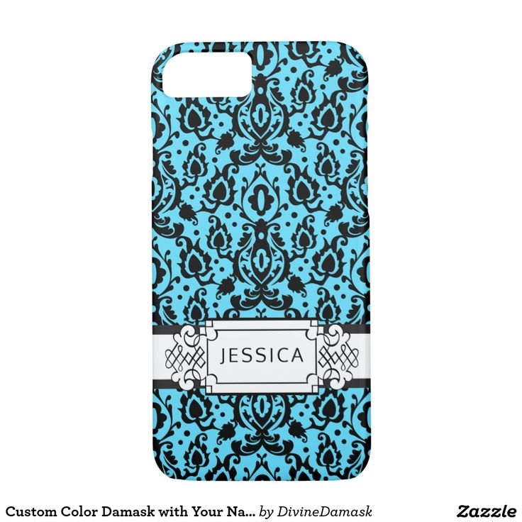 Custom Color Damask with Your Name iPhone 7 Case
