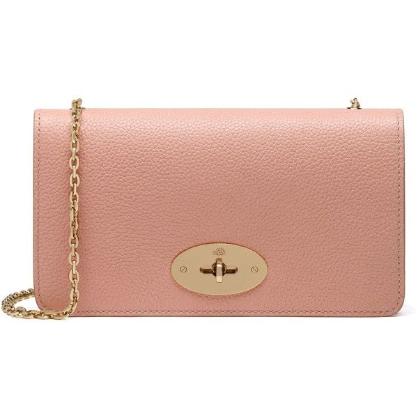Mulberry Bayswater Clutch Wallet found on Polyvore featuring bags, wallets, rose petal, beige bag, mulberry wallet, chain shoulder bag, beige wallet and slim wallet