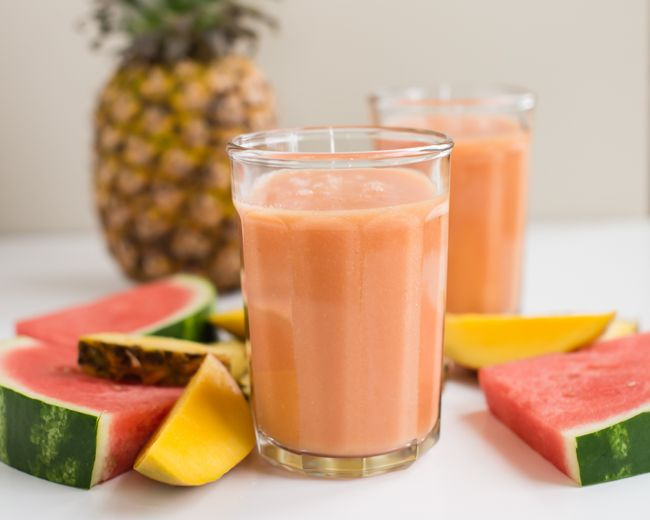 Healthy Watermelon Smoothie Recipe  (coconut water, watermelon, mango, pineapple, and ice)
