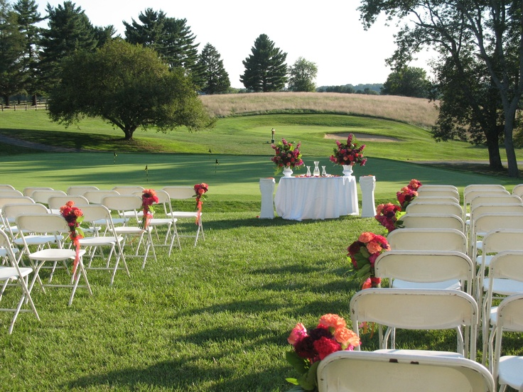 Hot Pink And Tangerine Wedding At Maryland Golf Country Club Chair Flowers Doubled As Centerpieces