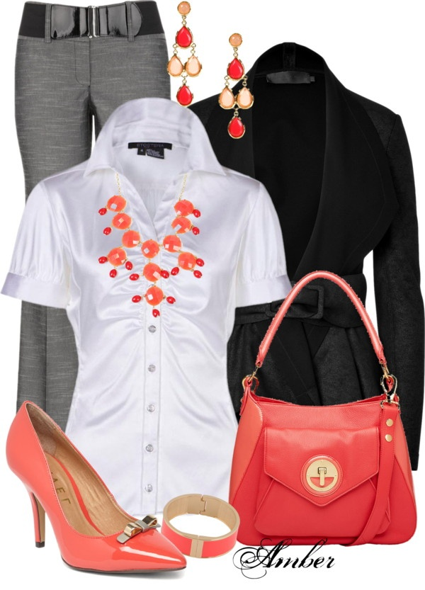 """Coral Accessories - Office Outfit"" by stay-at-home-mom on Polyvore.  Like the coral and gray, but would really love to have the blouse."