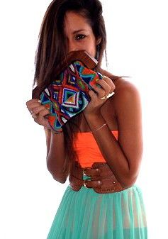 Coral & aqua with a tribal clutch: Fashion, Summer Outfit, Style, Clothes, Dress, Bright Colors