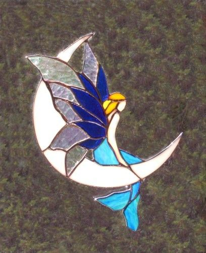 Mermaid on moon stained glass | Fae, Fairy | Pinterest ...