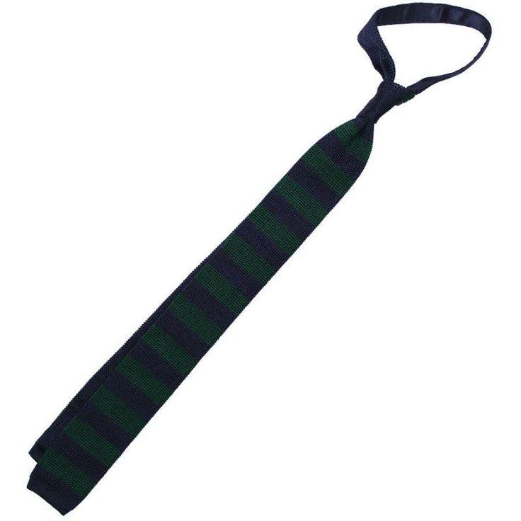 Silk Knit Tie - Navy / Forest Green - Striped