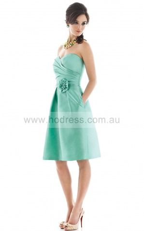Sleeveless Zipper Sweetheart Knee-length Satin Formal Dresses b140451--Hodress