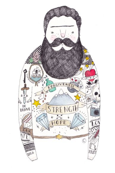A tattooed man from one of my favourite illustrators out there - Ella Masters!