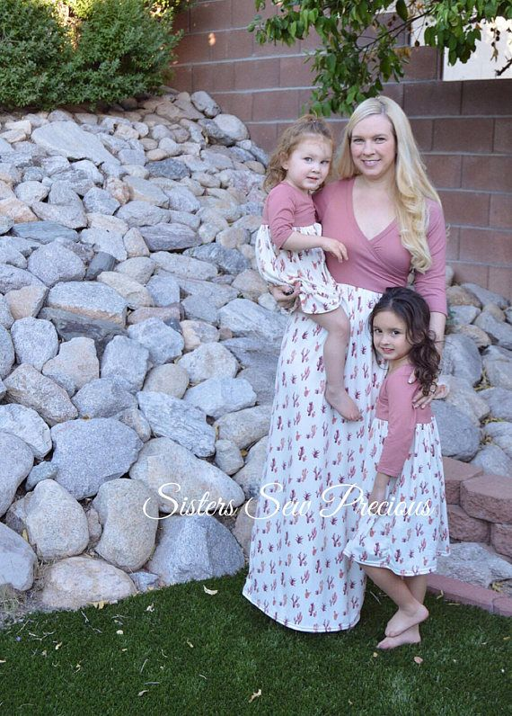 fd8f9a6c74e13c Mother Daughter Matching Dress | Mommy and Me Outfits | Cactus Dress |  Saguaro Cactus Dress | Matching Family Outfits