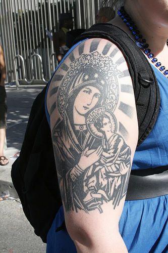 Mary & Jesus Tattoo On Shoulder