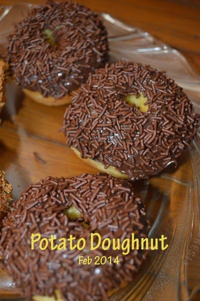 Potato doughnut. Traditional doughnut in Java, Indonesia. Topped with chocolate rice. Fluffy and yummy.