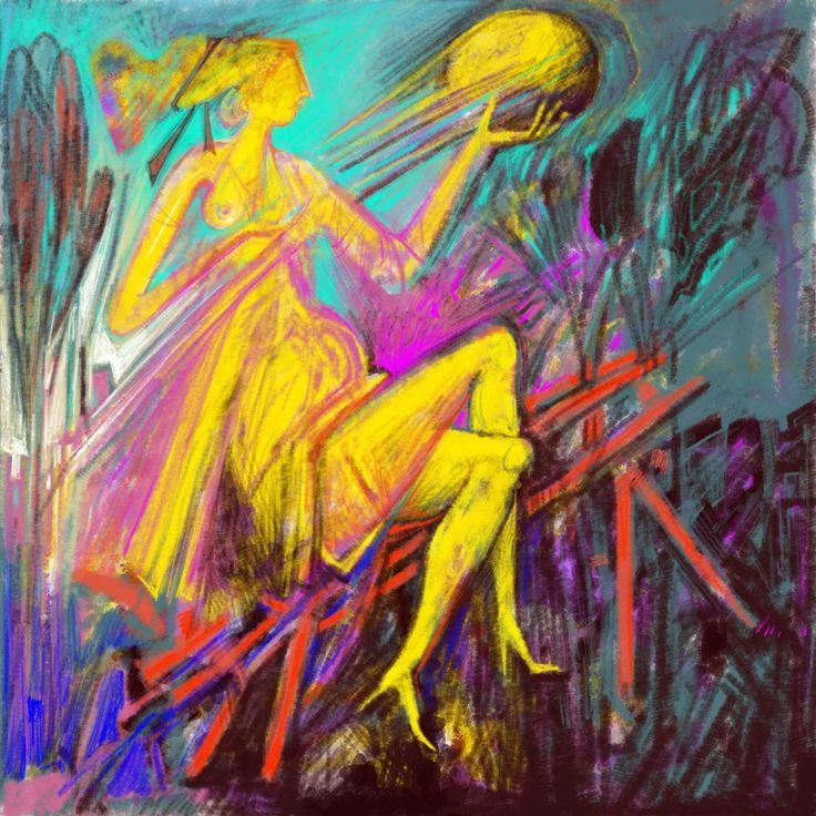 A yellow Woman. digital Painting. 2017 Two series of Prints. 60x60 cm.  5.Prints. 90x90 cm. 5 prints.