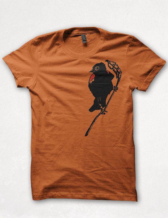 Mens Tshirt Redwing Blackbird Graphic Tee Bird Shirt Forest and Fin - Rust