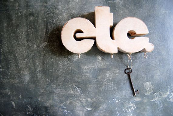 Etc Wall Hanging / Key Holder / Organizer / Home Decor: Upcycled Wooden Word Sign / Upcycled Vintage Etc Carved Wooden Key Rack