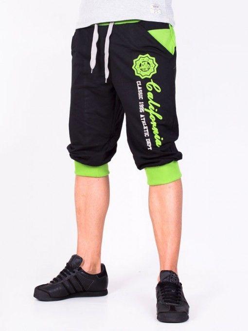 Pantaloni scurti barbati California negru si verde
