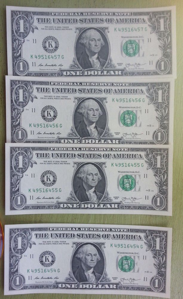 2013 $1 Dollar Banknote Lot Sequential  Federal Reserve Note Crisp Clean Cash