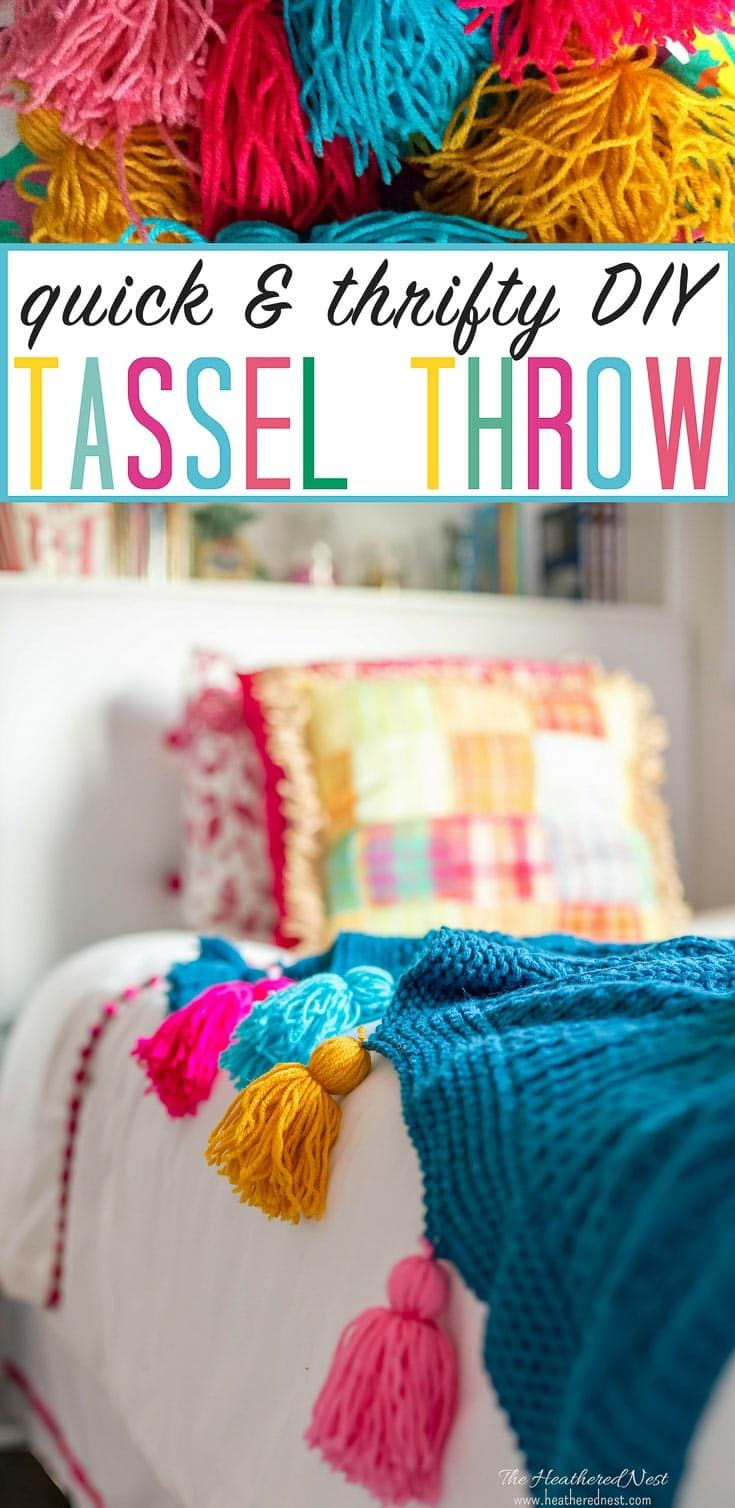 ADORABLE! And super easy DIY project. DIY tassel tutorial. Add tassels to any throw in minutes. #DIYtassel #DIYtasselthrow #tasselthrow #DIYtassels #tasseltutorial via @heathernest