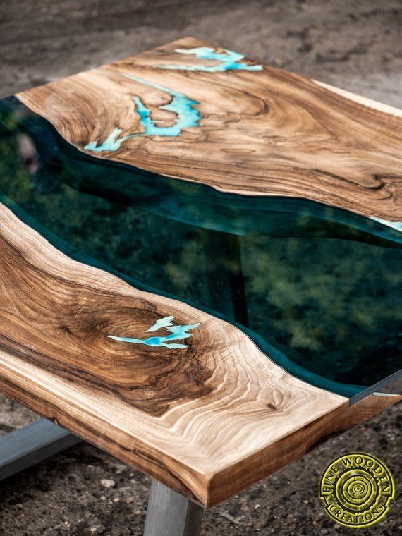 Square Live Edge River Gl Coffee Table With Glowing Resin Etsy