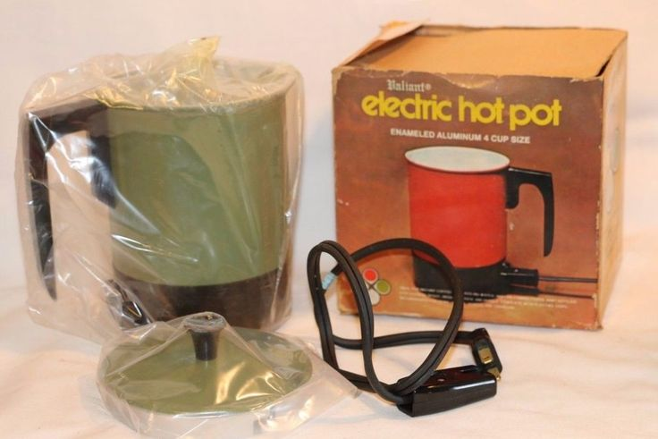 Vintage Valiant Avocado Green Metal Electric Hot Pot Kettle 4 Cup Box New Instrs