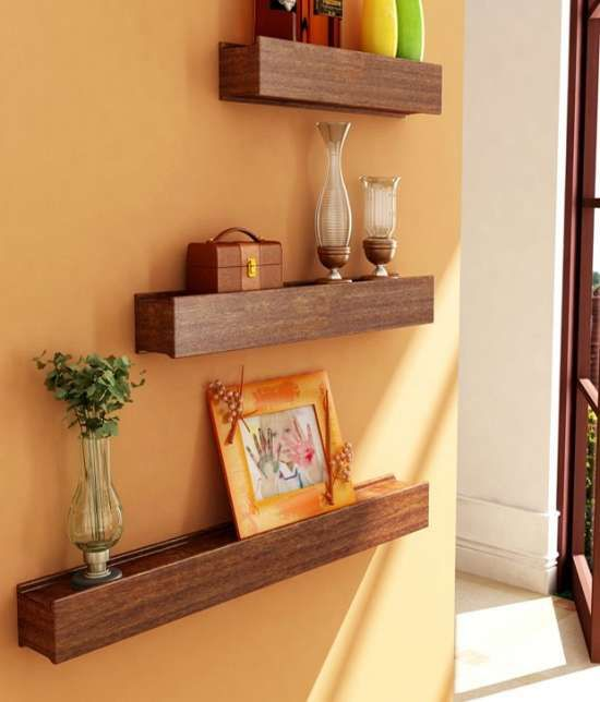 Buy Desi Karigar Brown Engineered Wood Wall Shelves