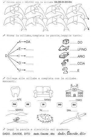 SILLABE DA DE DI DO DU CLASSE PRIMA