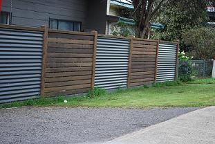 diy fence with corrugated iron and timber - Google Search