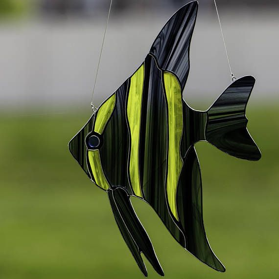 stained glass angel fish suncatcher, stain glass angel fish ornament on Etsy